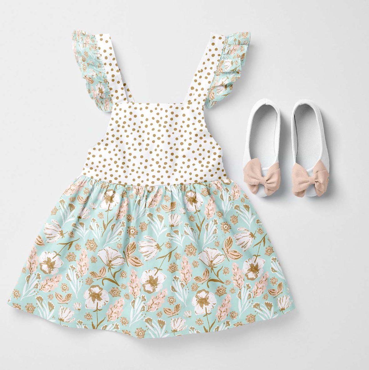 Baby Dress - Small Dot and Larger Butterfly Field