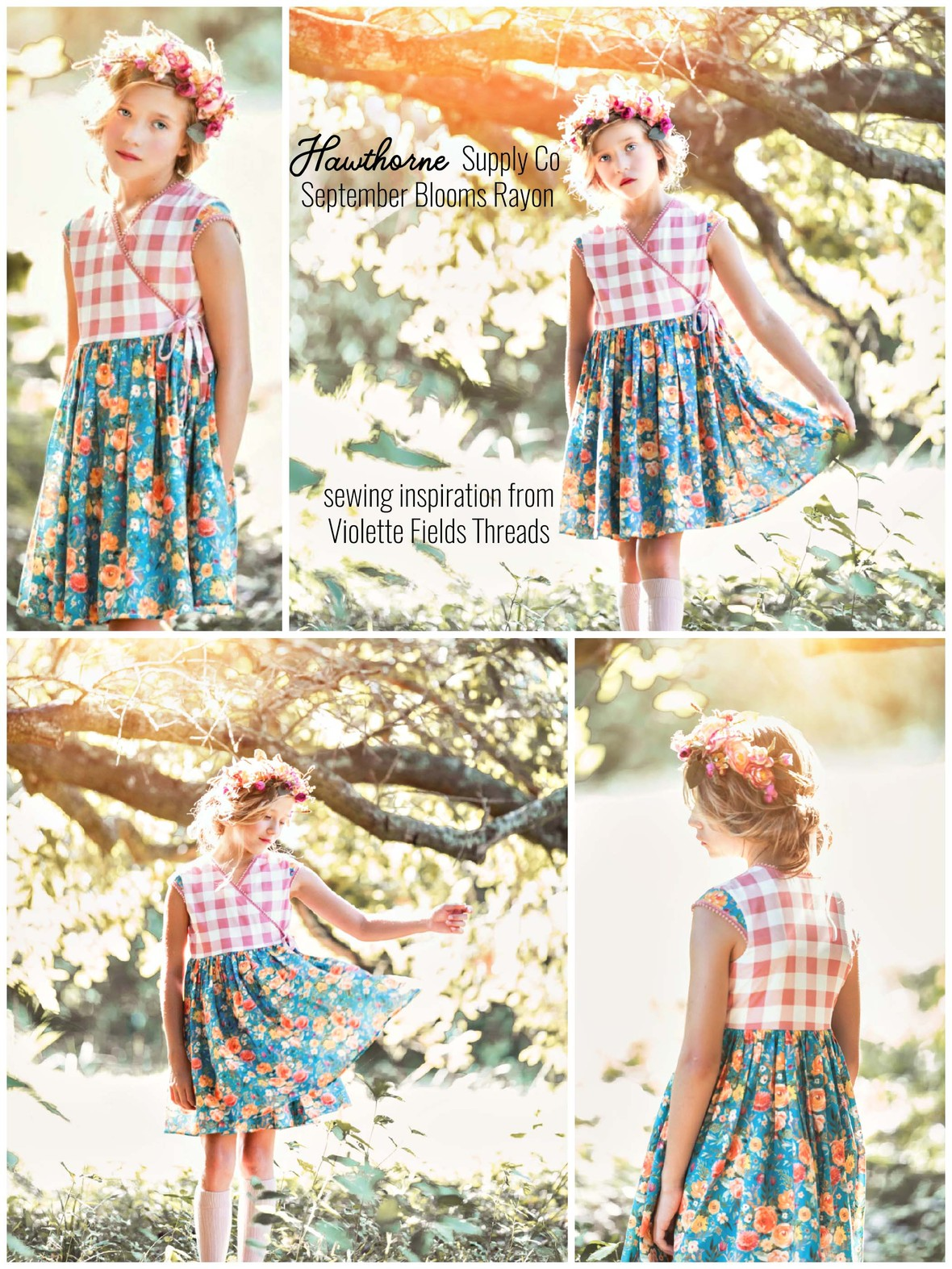 Shopcabin for Hawthorne Supply Co Fabric September Blooms Rayon VFT Olive Dress by Leah Pitkin