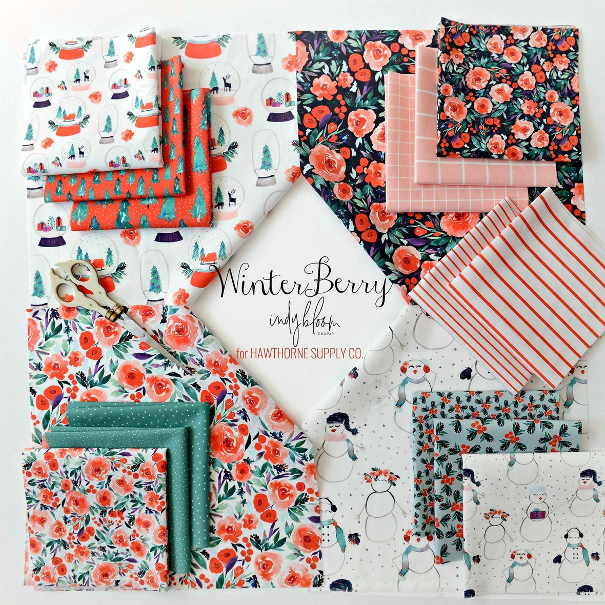 Winter Berry Fabric  Indy Bloom for Hawthorne Supply Co