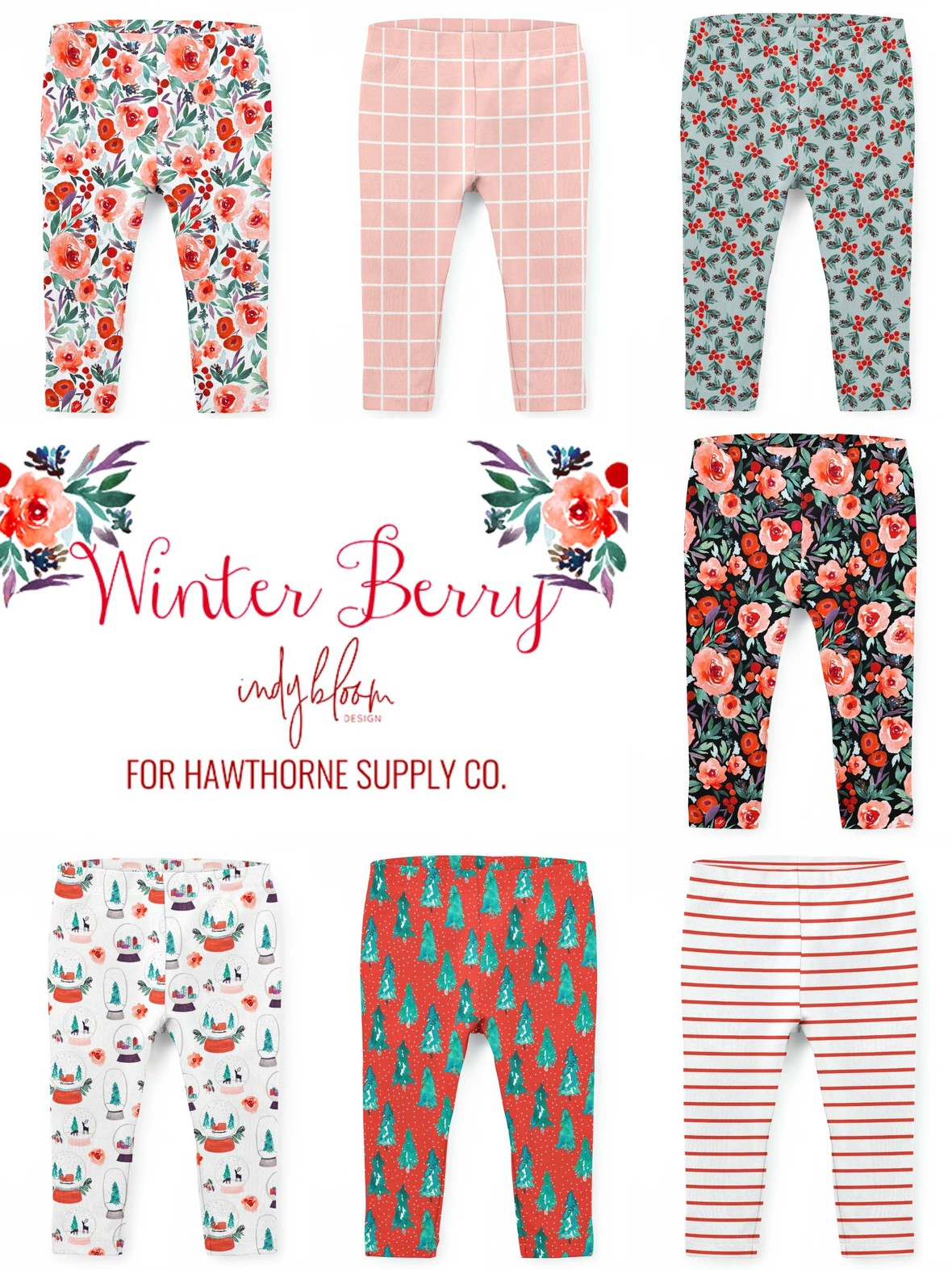 Winter Berries Baby Leggings Indy Bloom Knit at Hawthorne Supply Co