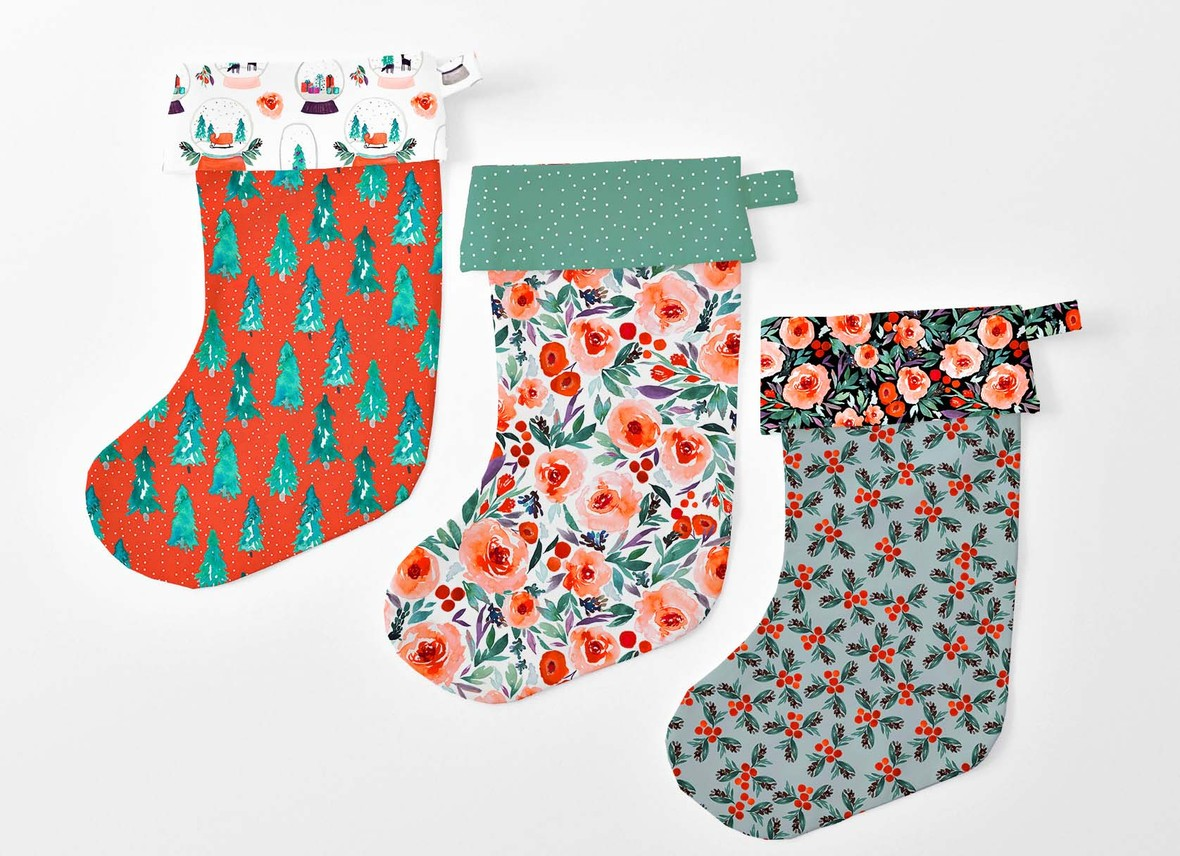 Winter Berry Fabric Indy Bloom Christmas Stockings Hawthorne Supply Co b