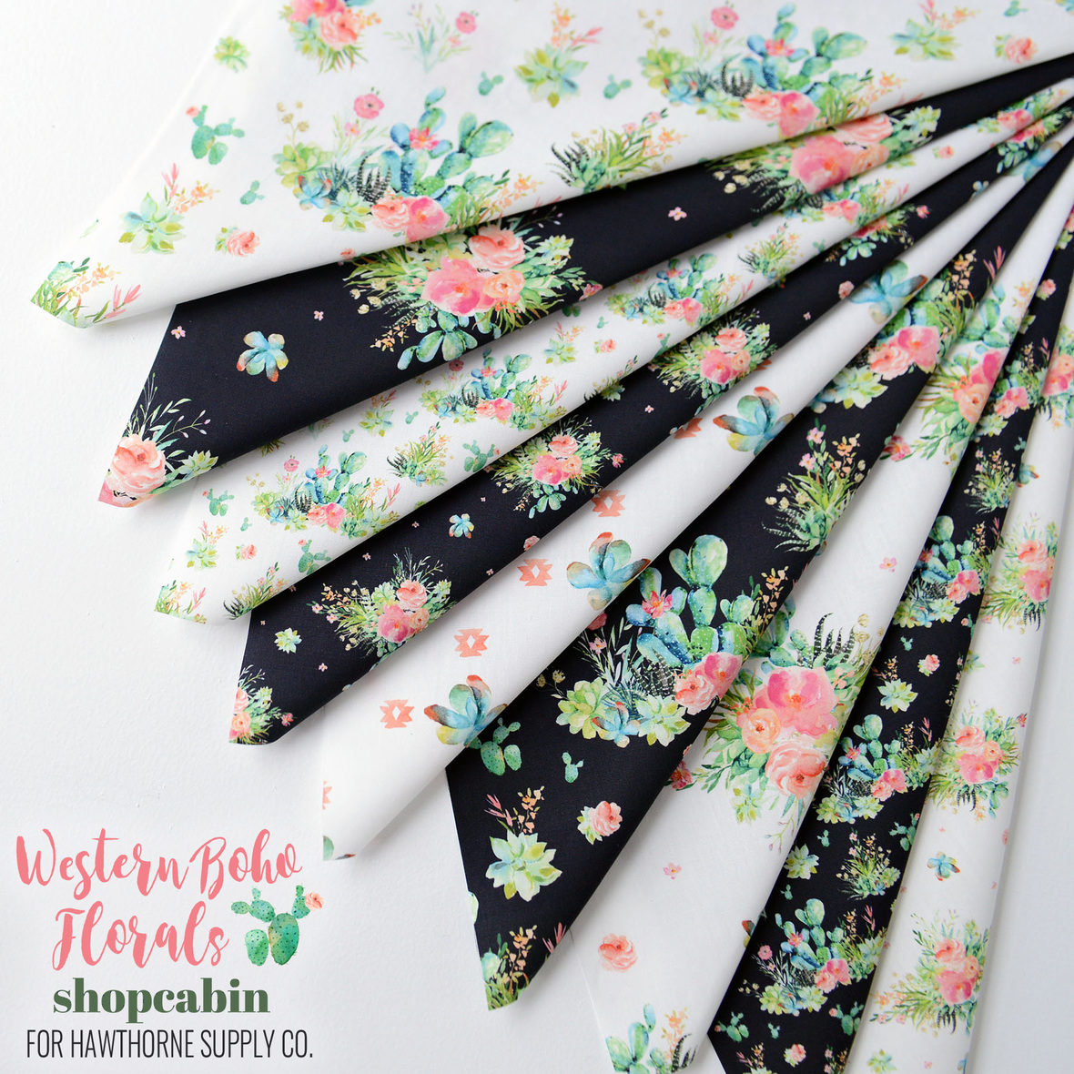 Western Boho Florals Fabric Poster