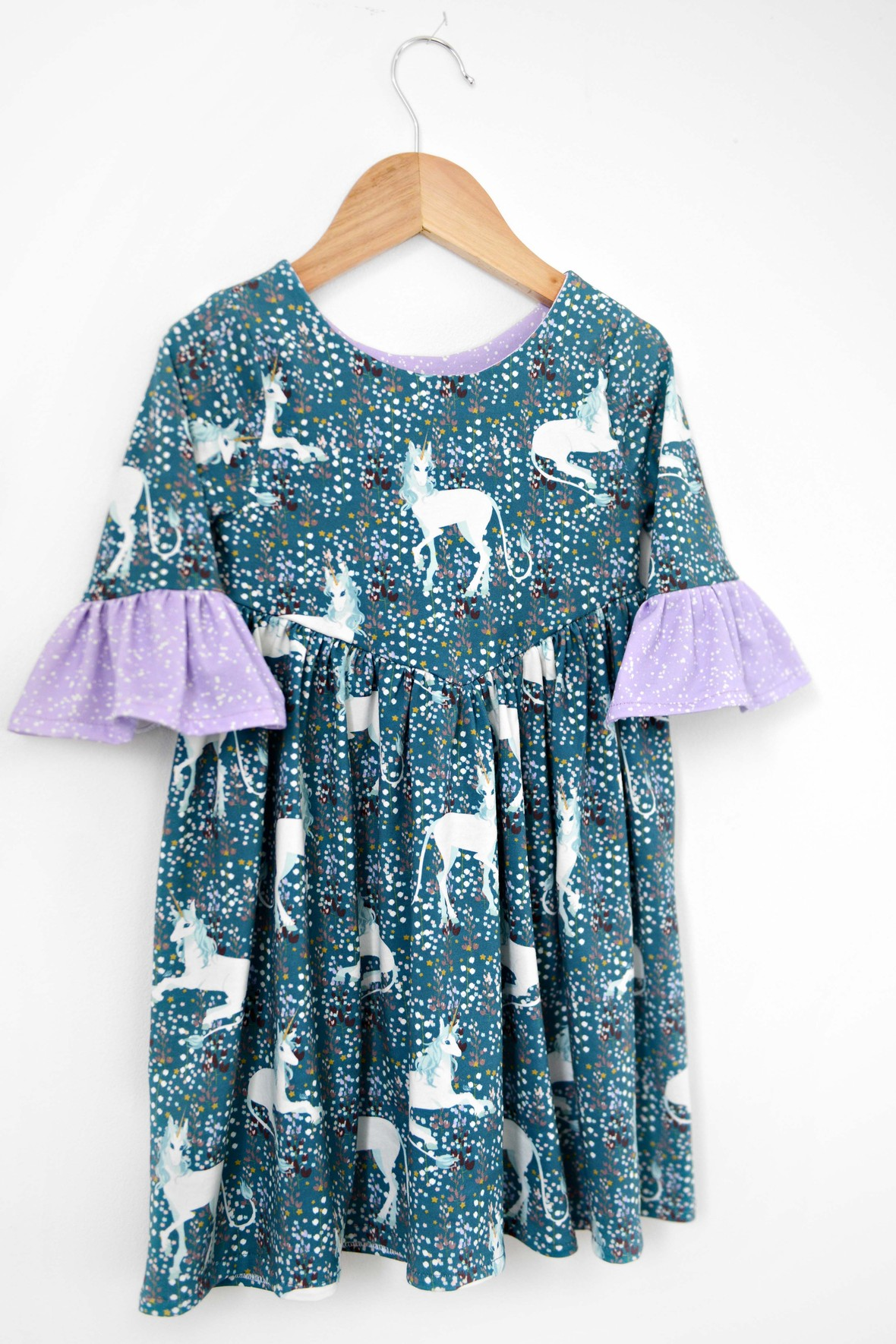 Painted Unicorn Fabric Jersey Girls Dress Hawthorne Supply Co