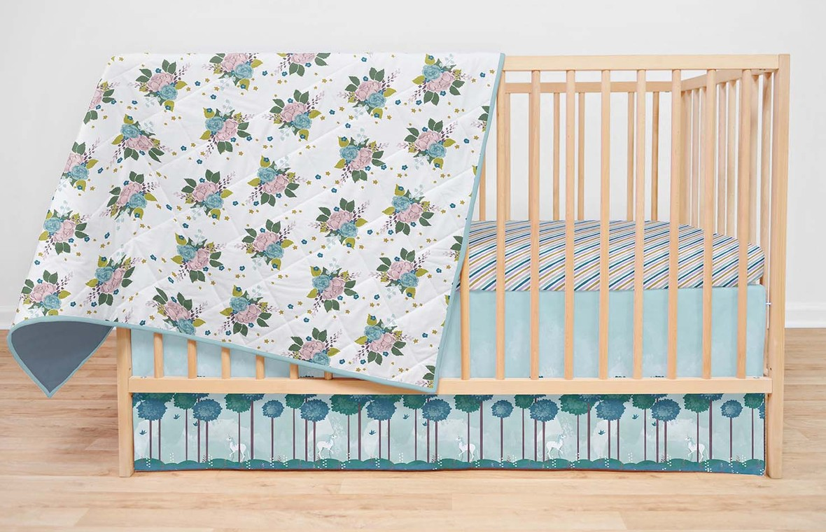 Painted UnicornsFabric Crib Set