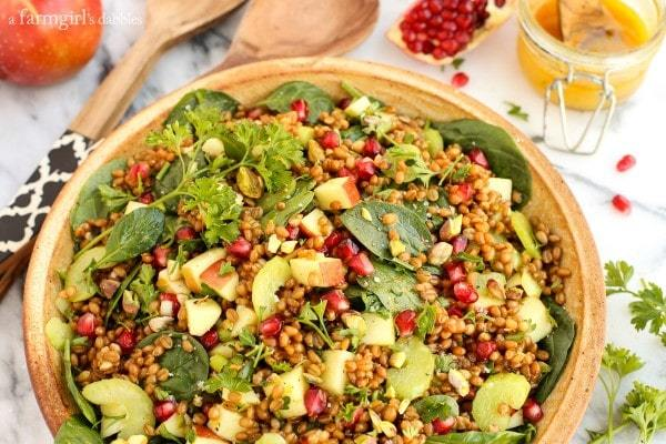 Wheat-Berry-and-Spinach-Salad-with-Orange-Curry-Vinaigrette AFarmgirlsDabbles AFD-6-600x400