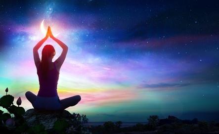 Woman Yoga in Sky