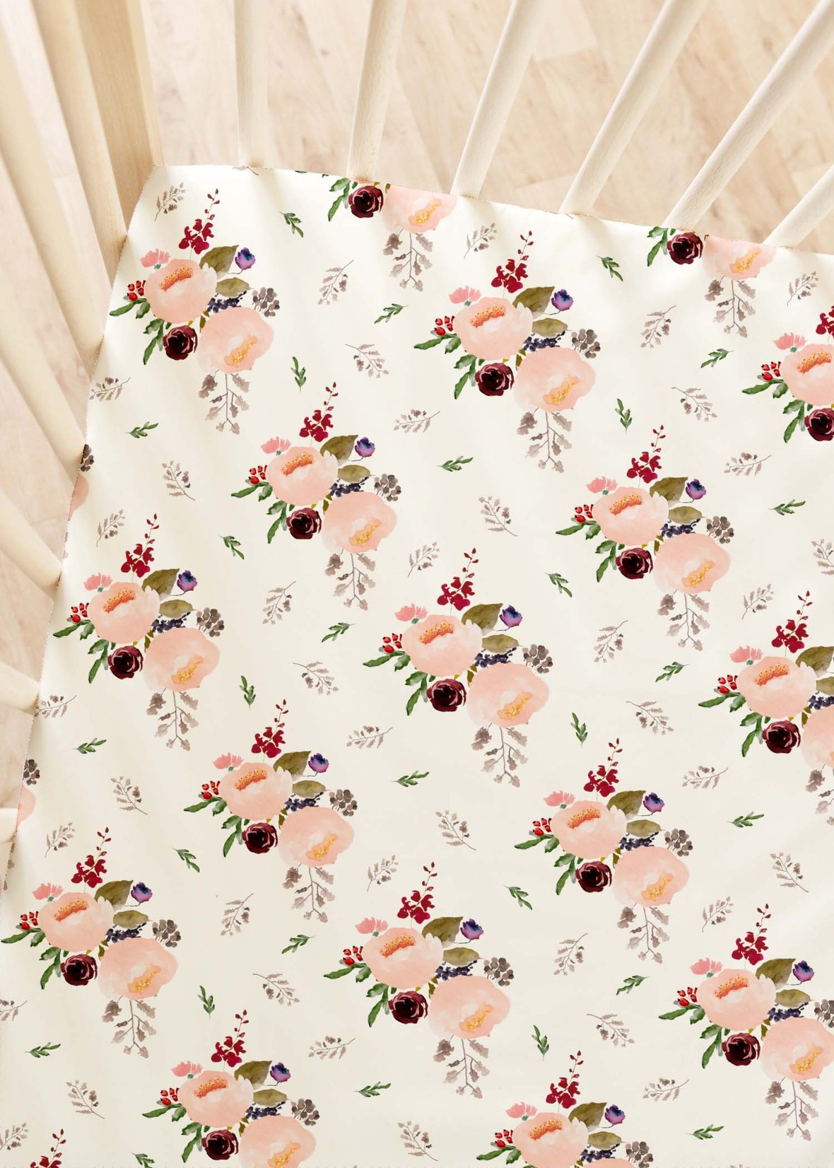 Crib Sheets Woodland Trail Bouquet in Soft Ivory