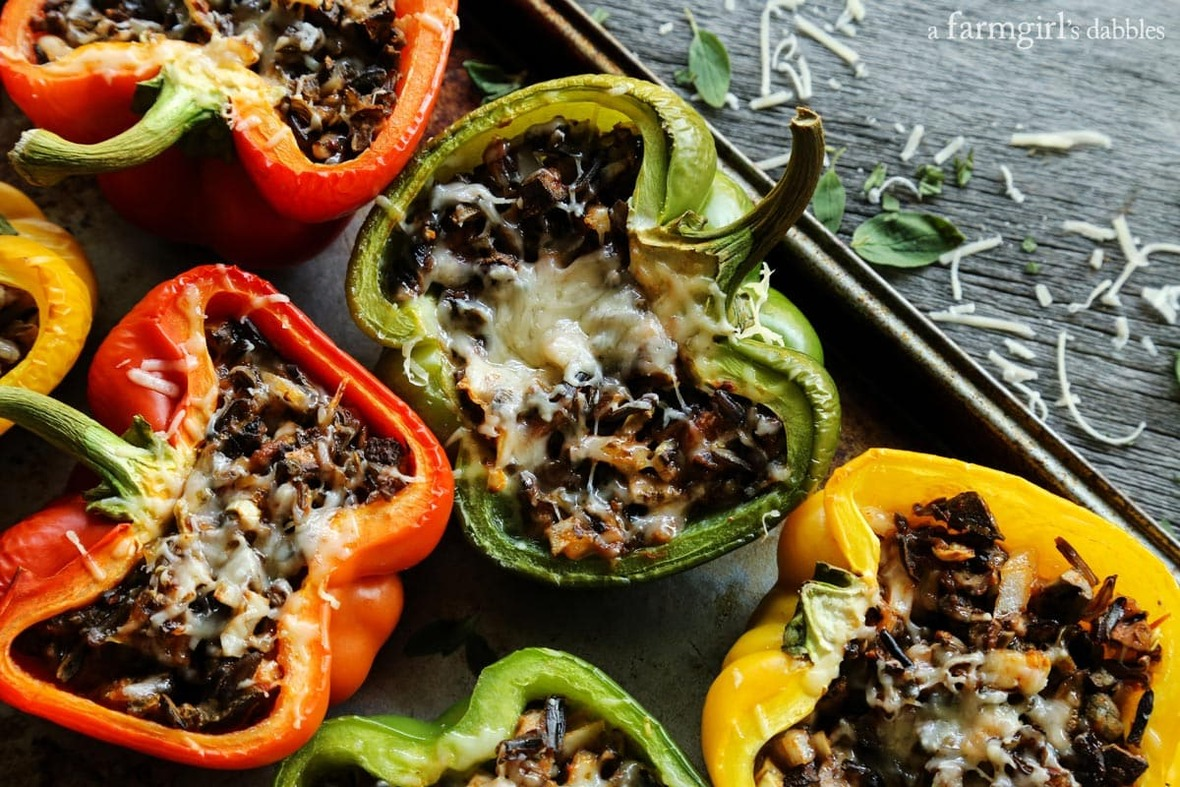 mushroom-and-wild-rice-stuffed-peppers AFarmgirlsDabbles AFD-3-1