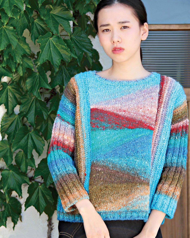 Model in short row sweater