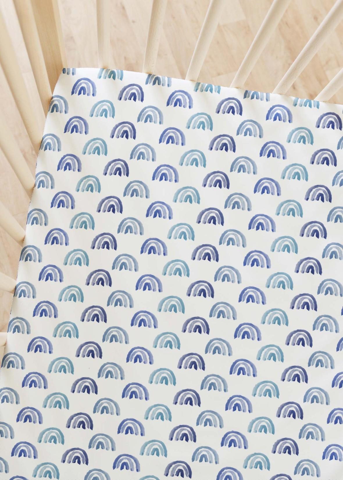 Crib Sheets Rainbow Row in Blue Sky