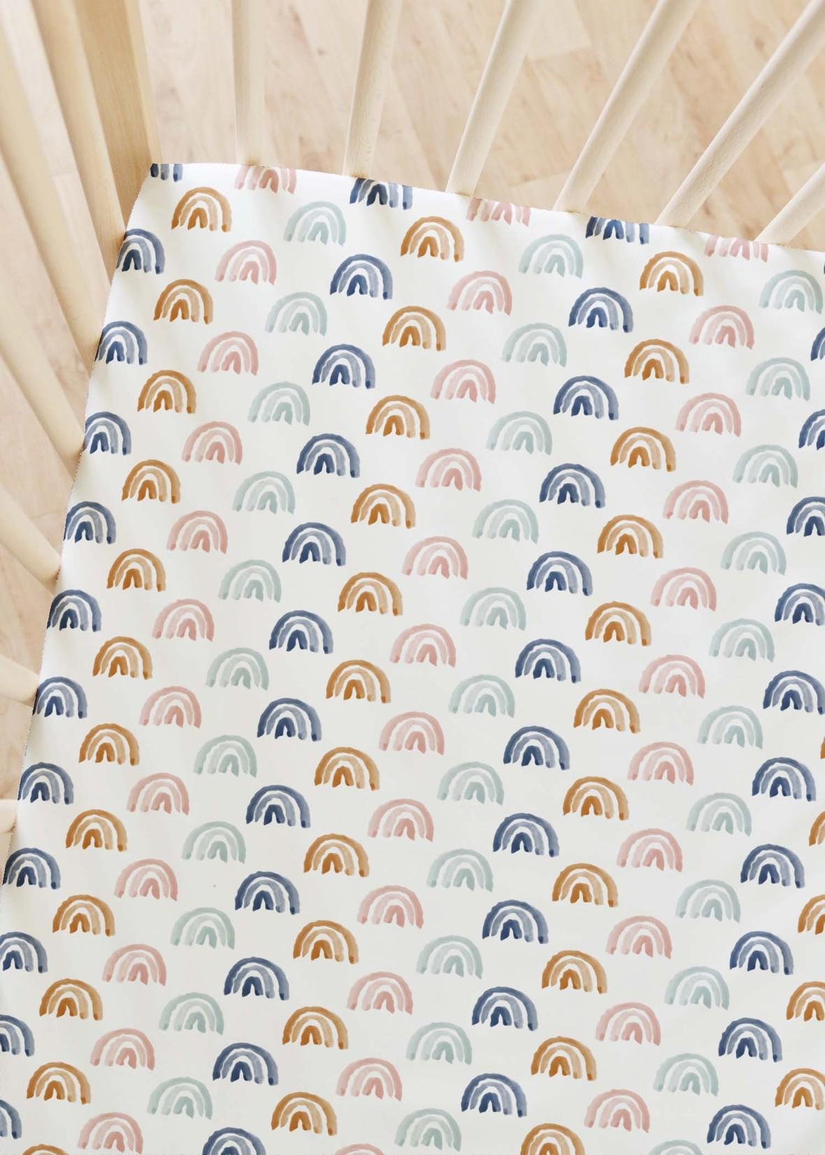 Crib Sheets Rainbow Row in Sunrise