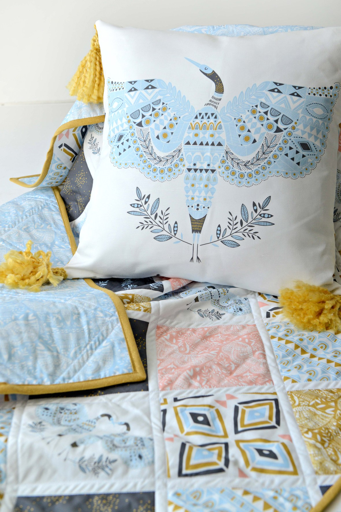 Anhinga Fabric Pillow and Quilt.jpg