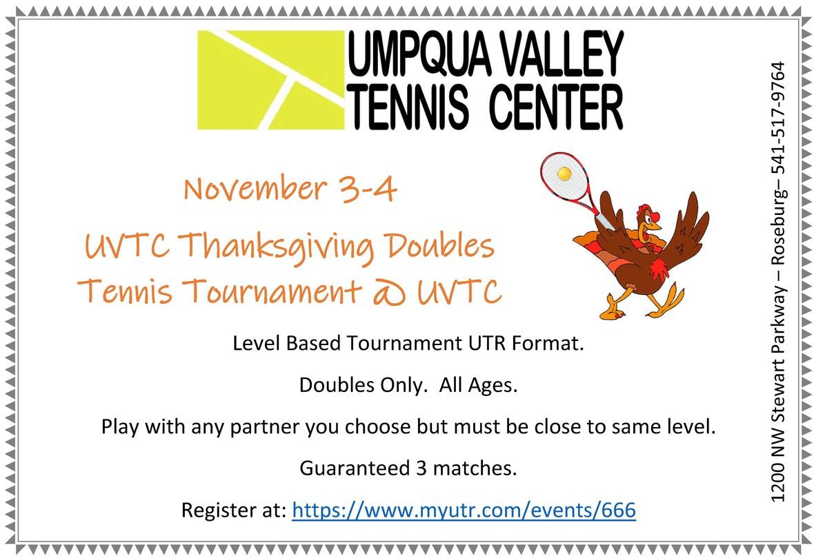 utr thanksgiving tournament flyer Nov 2018