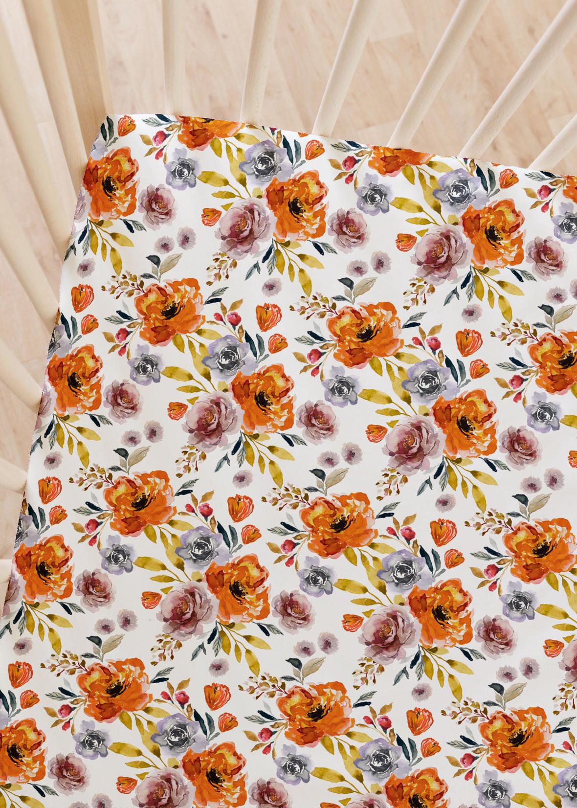 Crib Sheet November Skies in Harvest Moon on White 1