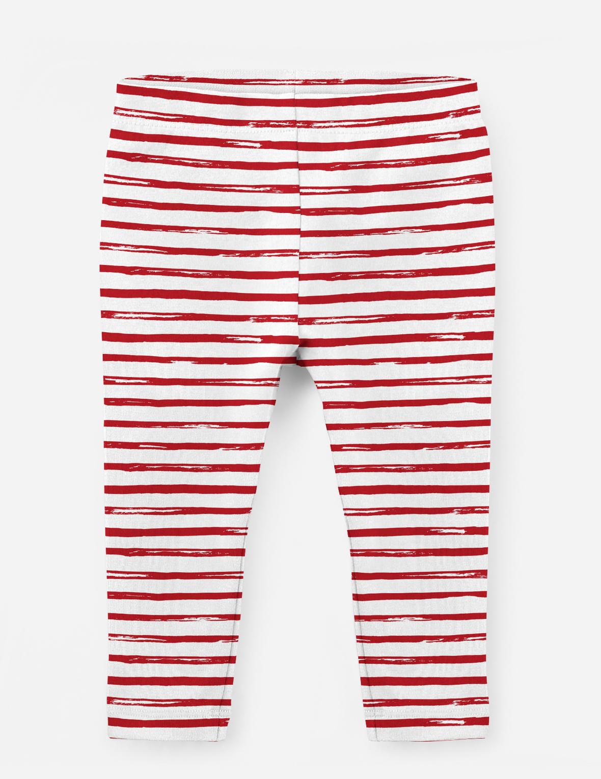 Leggings Red Holly Stripes