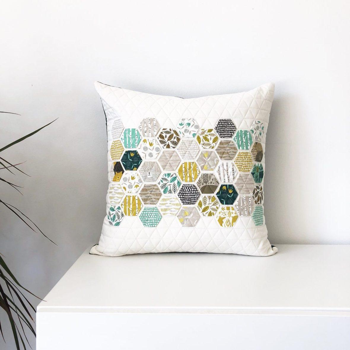 modern handcraft - hexie pillow 2