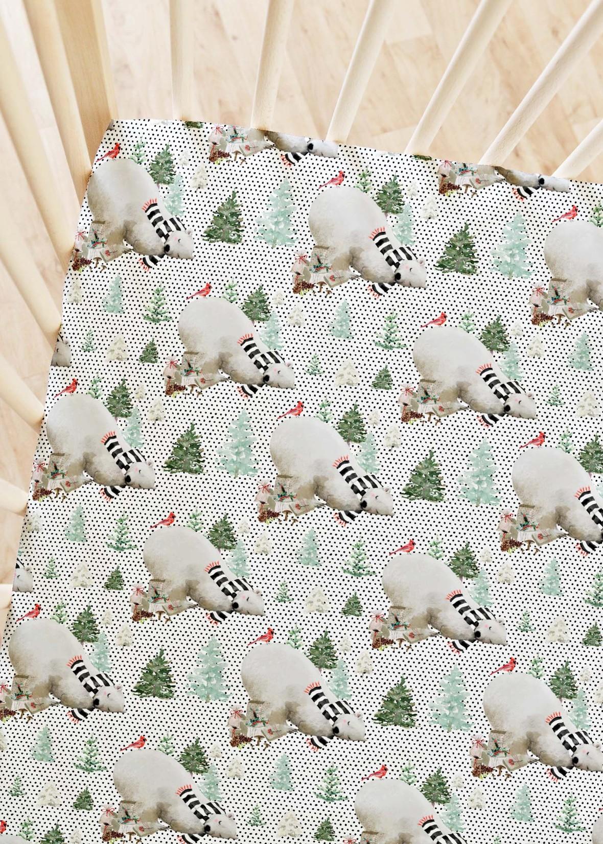 Crib Sheets White and Black Dots Napping Bear