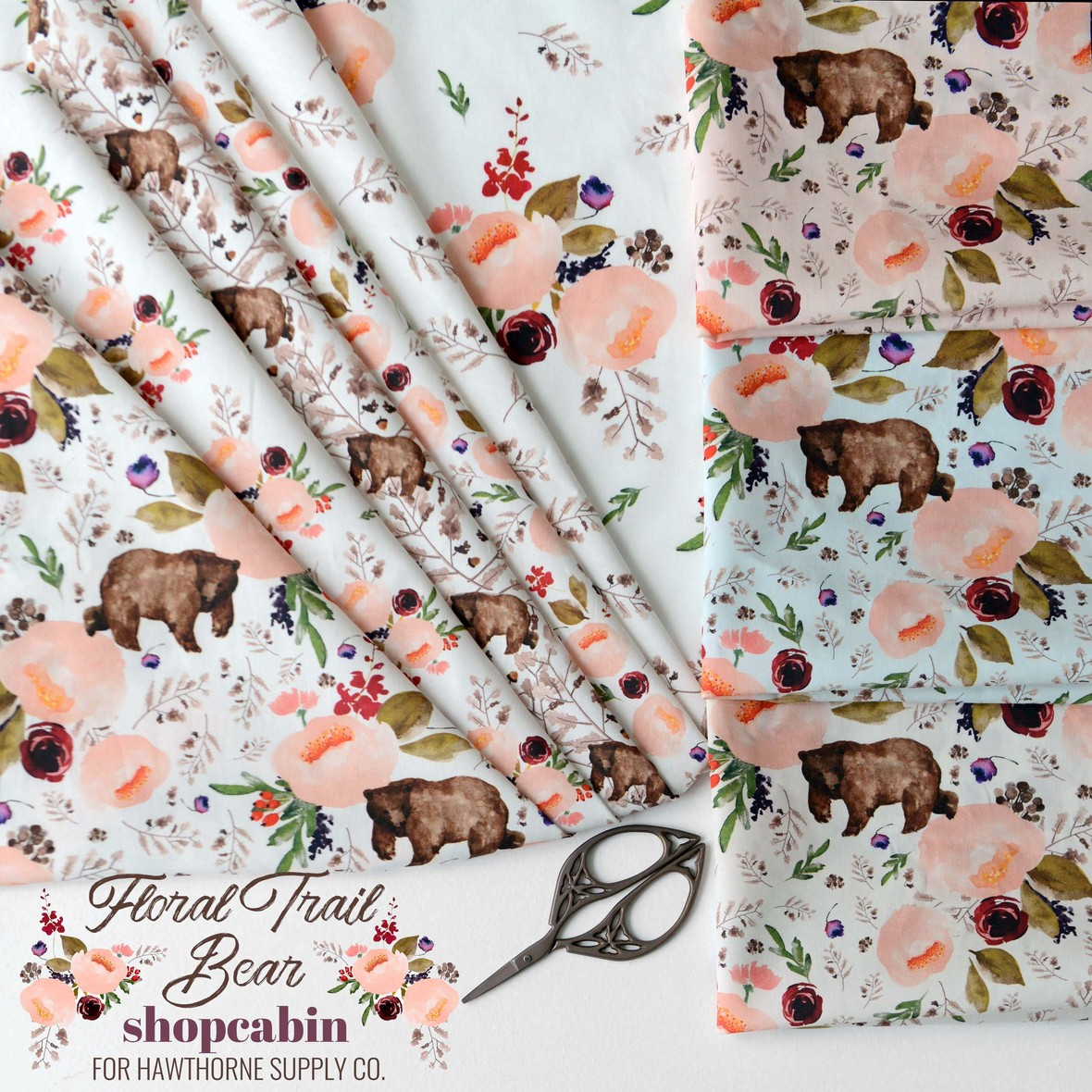 Floral Trail Bear Fabric Poster Shopcabin for Hawthorne Supply Co