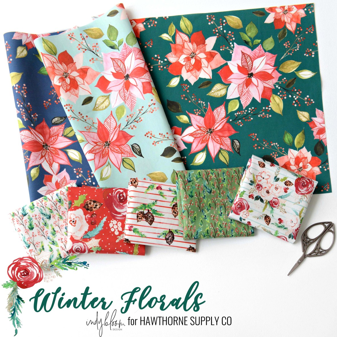 Indy Bloom Christmas Winter Florals Fabric at Hawthorne Supply Co