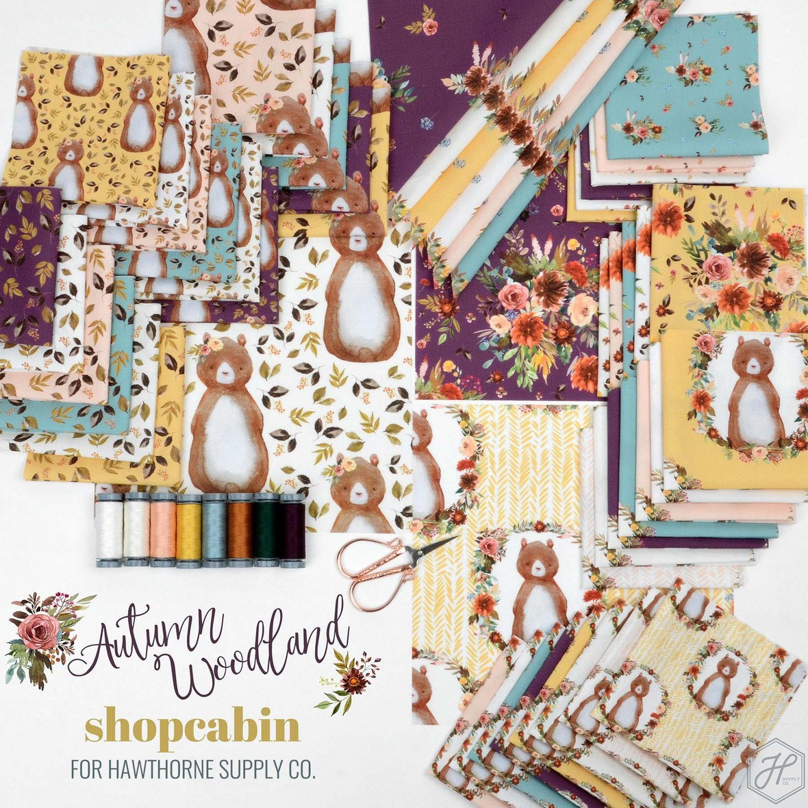 Autumn Woodland Fabric Poter Shopcabin for Hawthorne Supply Co megs edits