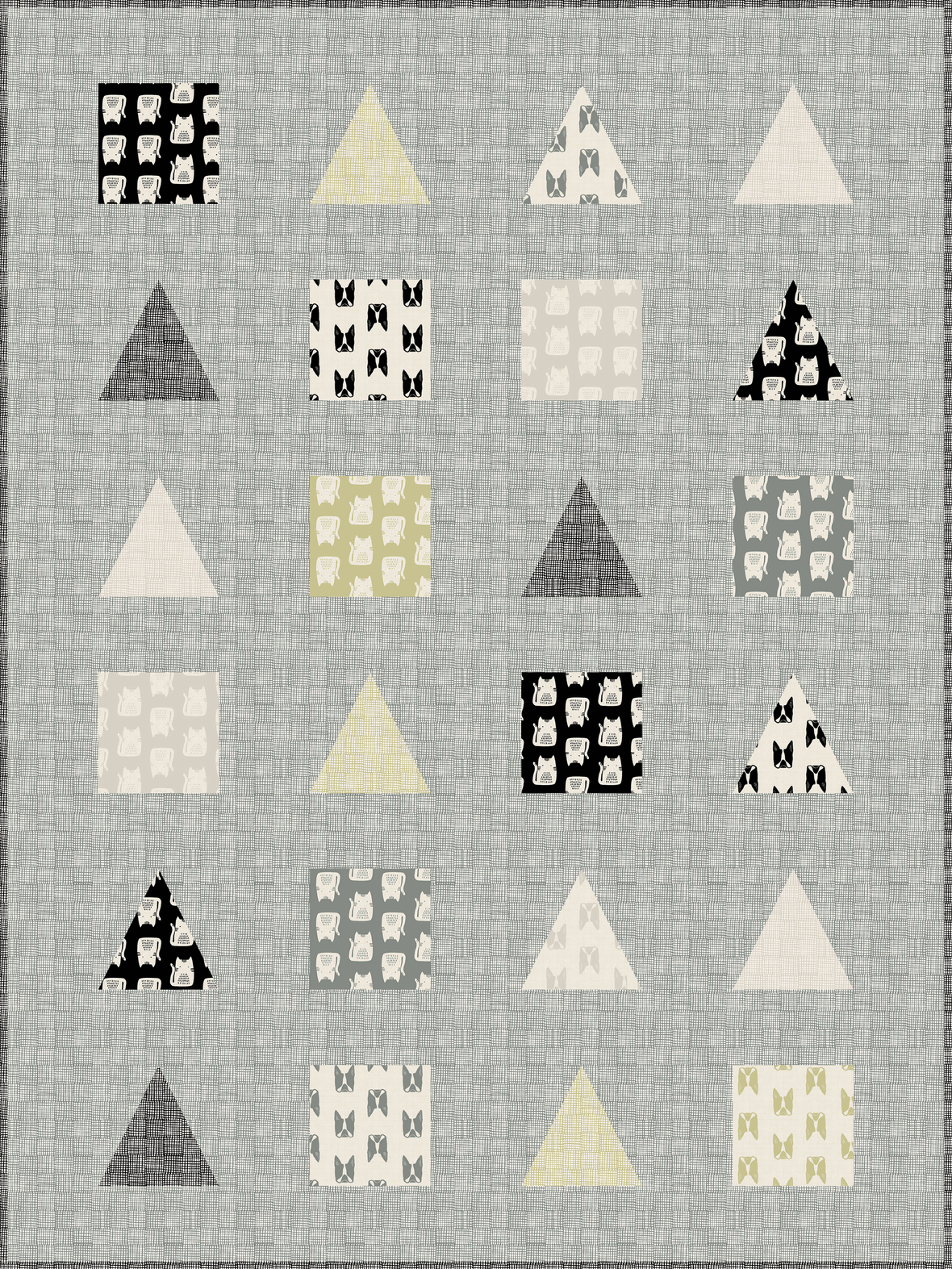 Cats and Dogs Quilt-Neutral - largest Andover had