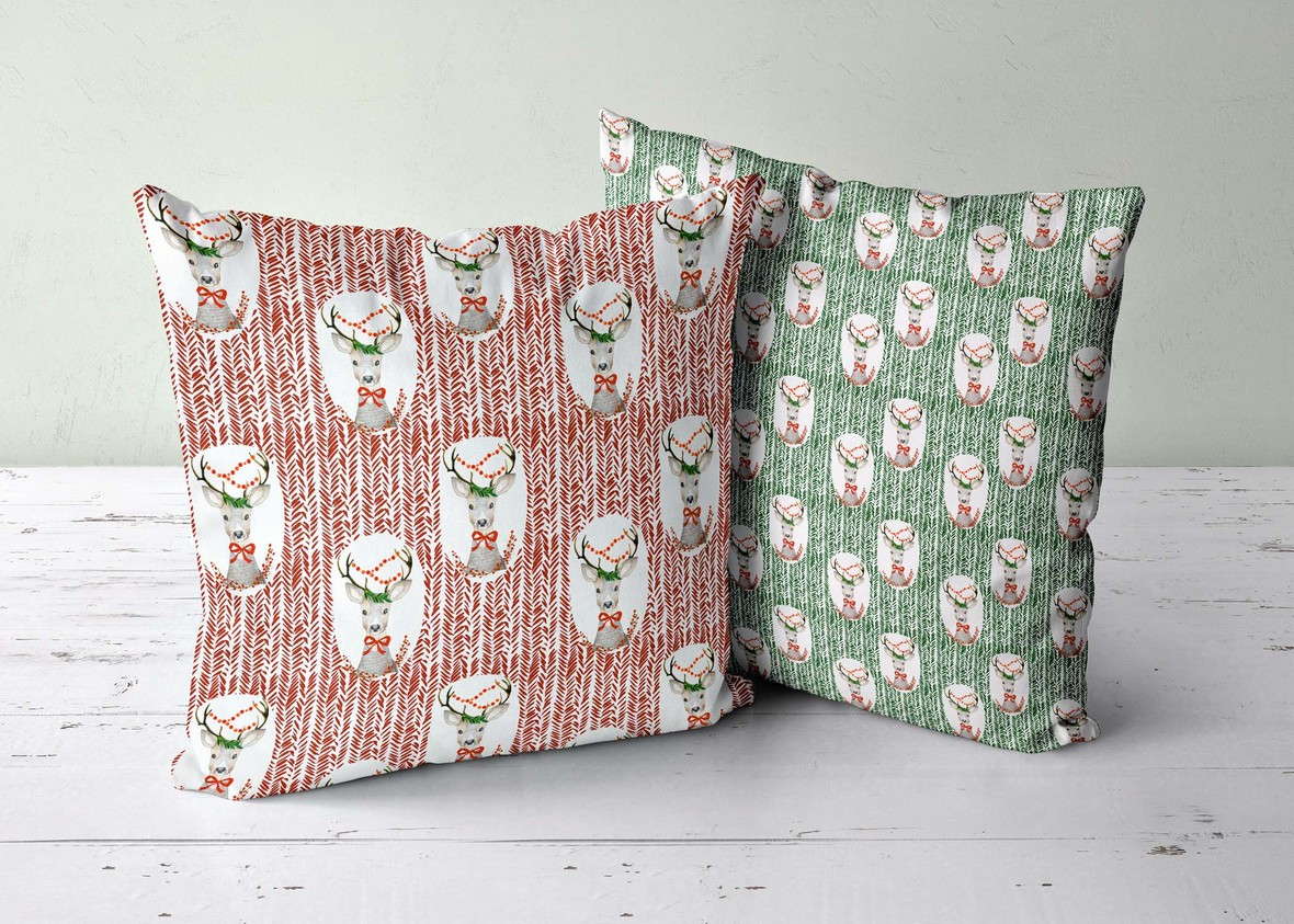 two pillows green wall