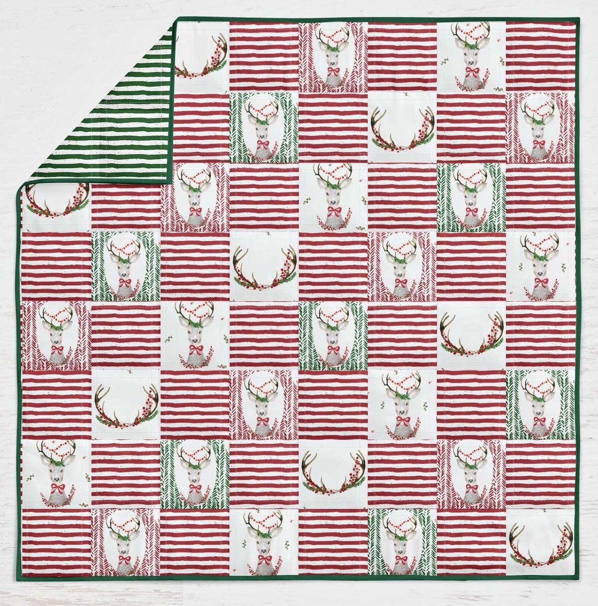 fancy deer quilt red stripes