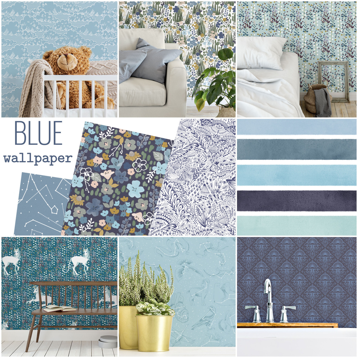 Hawthorne Supply Co Blue Peel and Stick Wallpaper