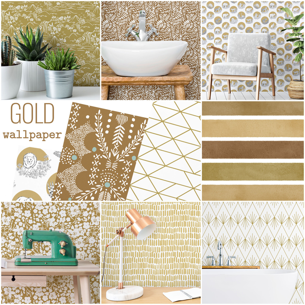 Hawthorne Supply Co Gold Peek and Stick Wallpaper