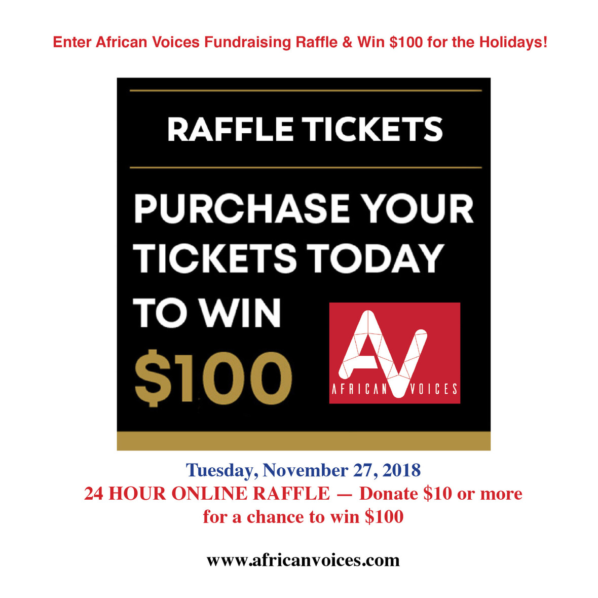African Voices Community Give Back — Donate $10 to Win $100
