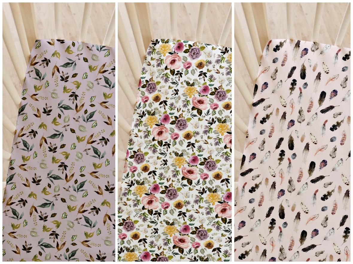 cambridge floral crib sheet
