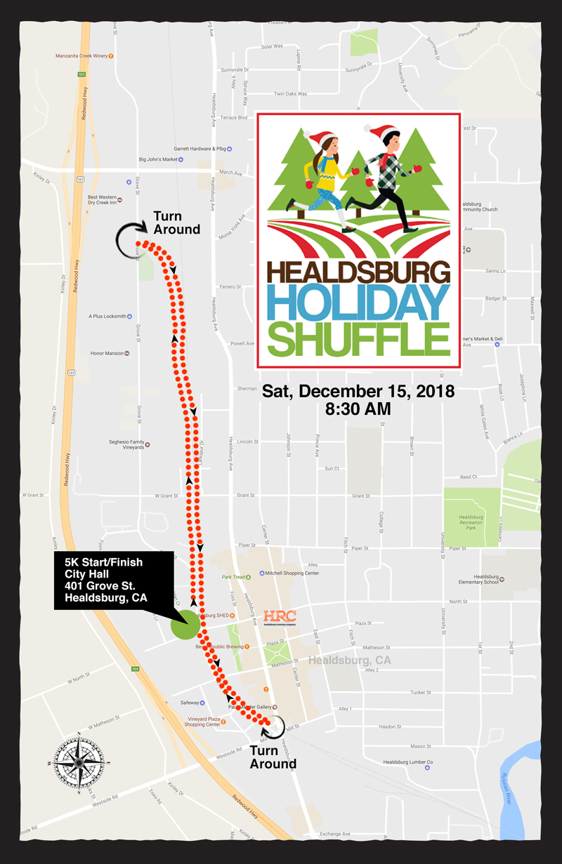 healdsburg holiday hustle map