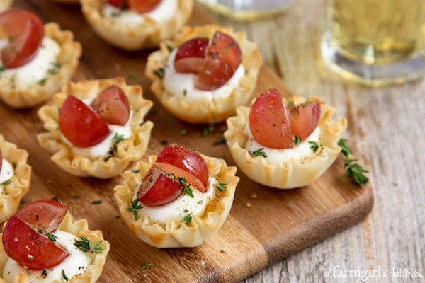 Mini-Phyllo-Cups-with-Whipped-Goat-Cheese-Grapes-and-Thyme AFarmgirlsDabbles AFD-2