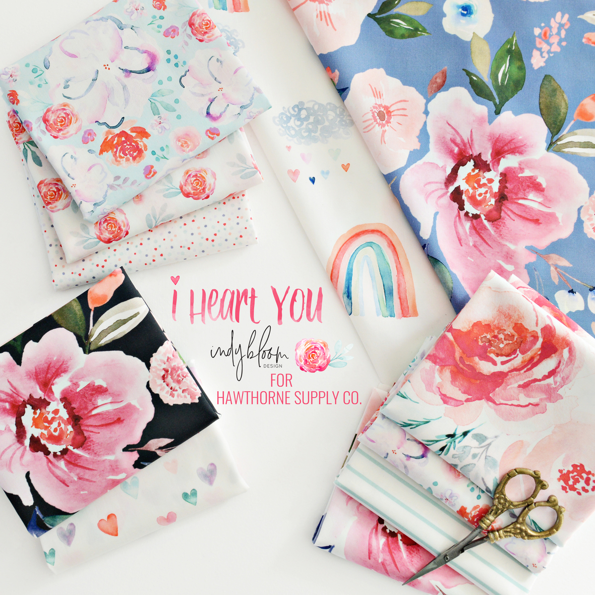 Indy bloom I Heart You Fabric Poster 2