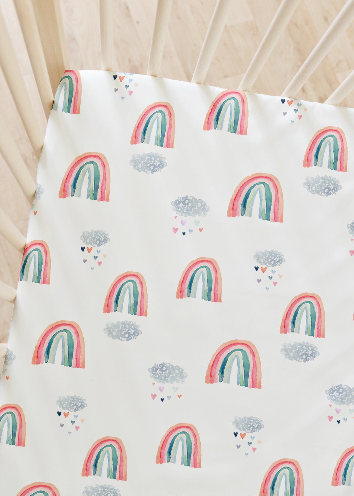 crib sheets rainbow bliss 1