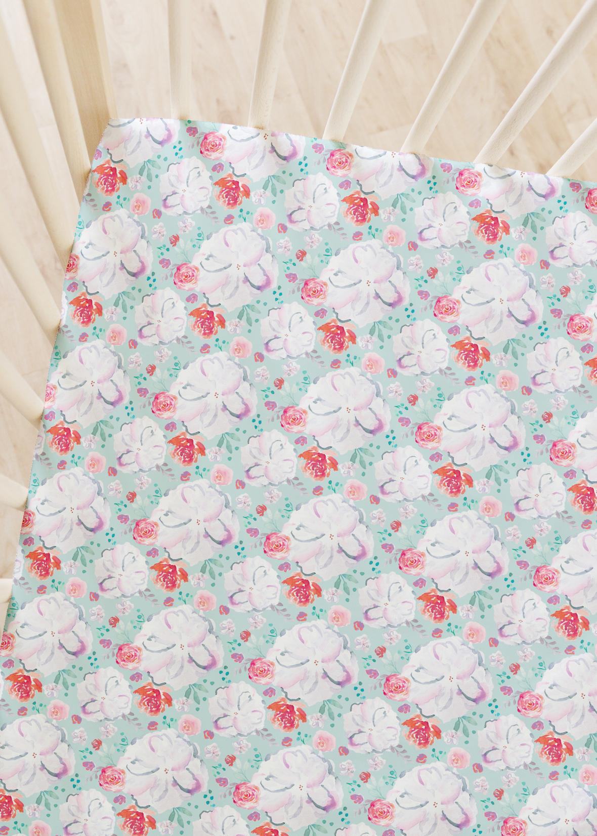 crib sheets sweetheart floral glacier blue 1