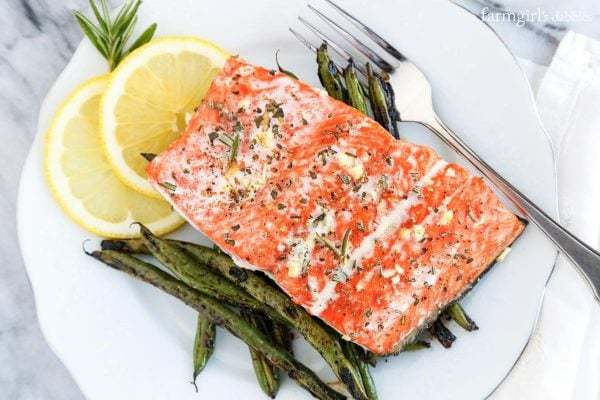 10-minute-garlic-and-rosemary-roasted-salmon AFarmgirlsDabbles AFD-3-600x400