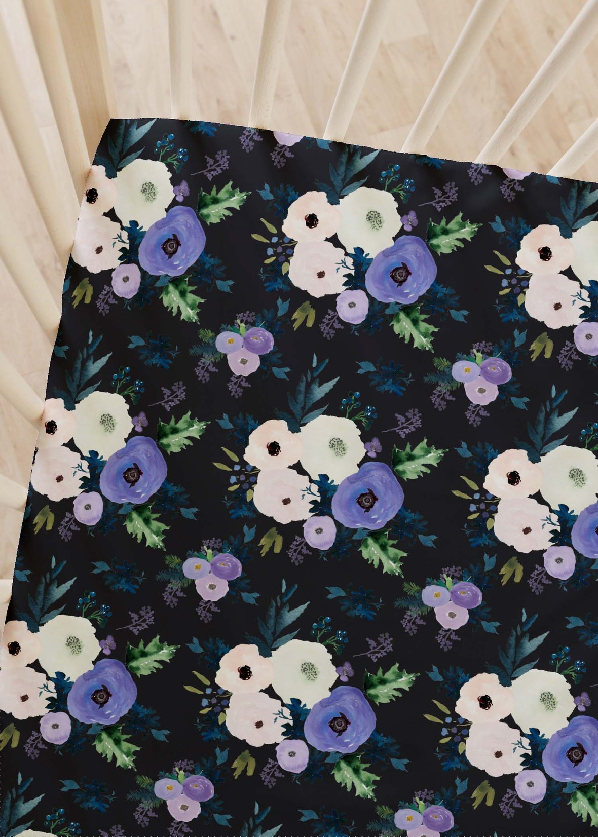 crib sheets frost bouquet black