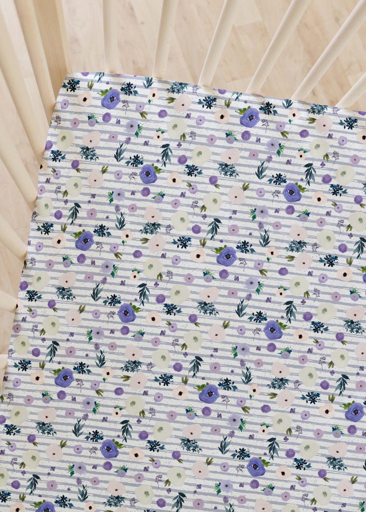 crib sheets drifting blooms lilac stripe