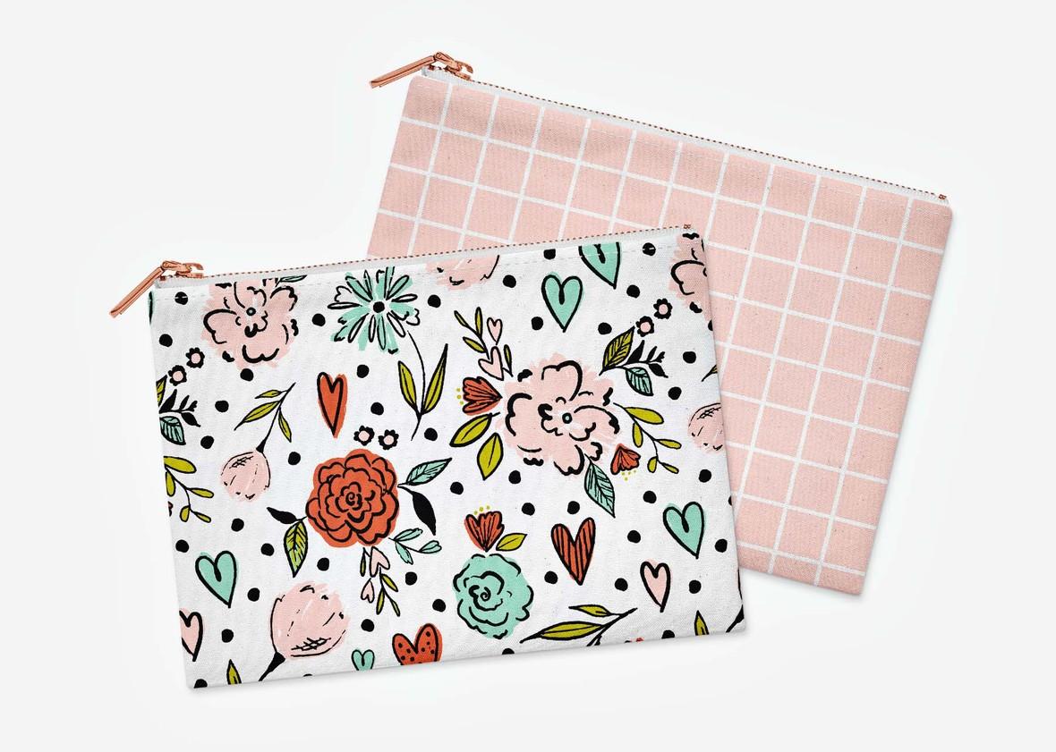flat pouches pink back
