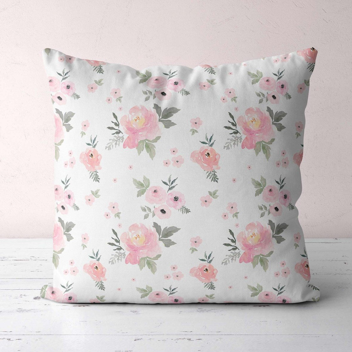 pillows large roses white