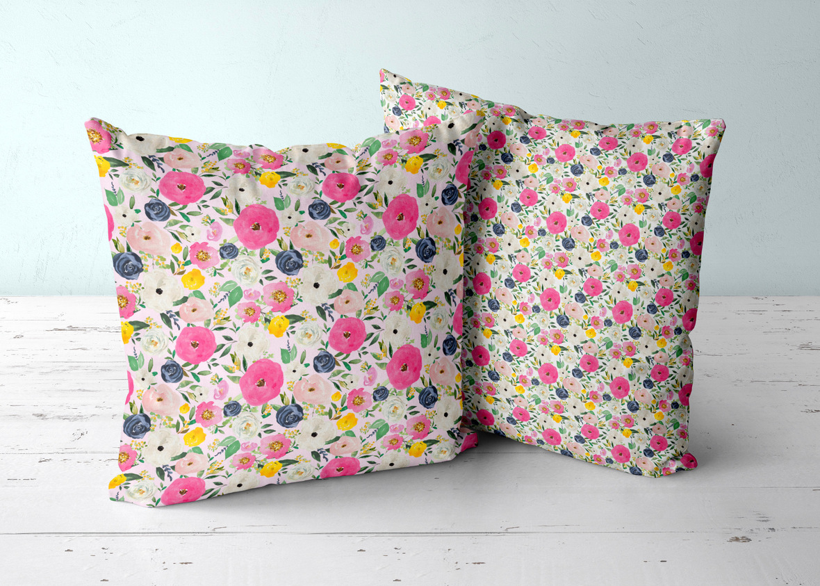 two pillows florals