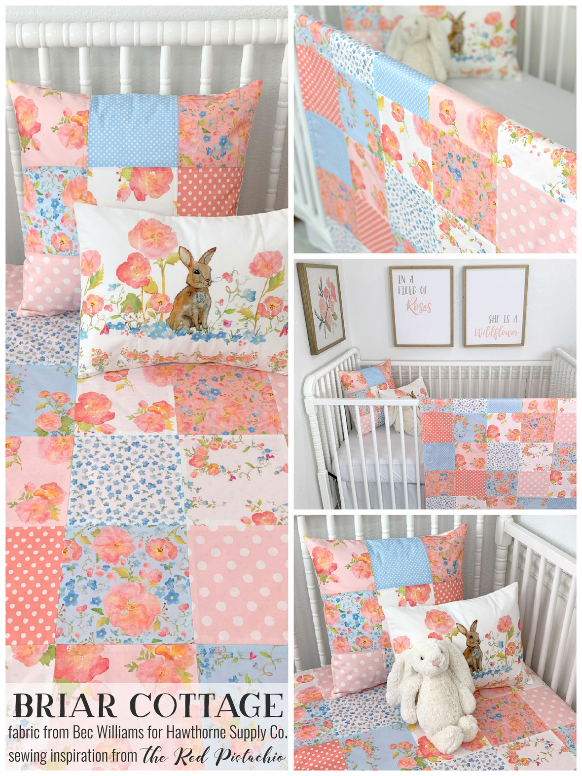 Briar Cottage Fabric from Bec Williams for Hawthorne Supply Co Red Pistachio Crib Bedding