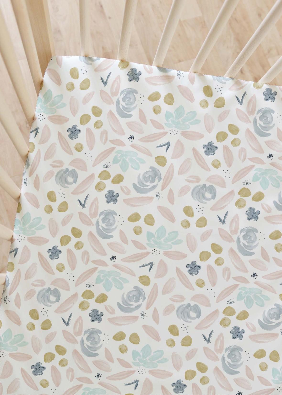 crib sheet blooming pink