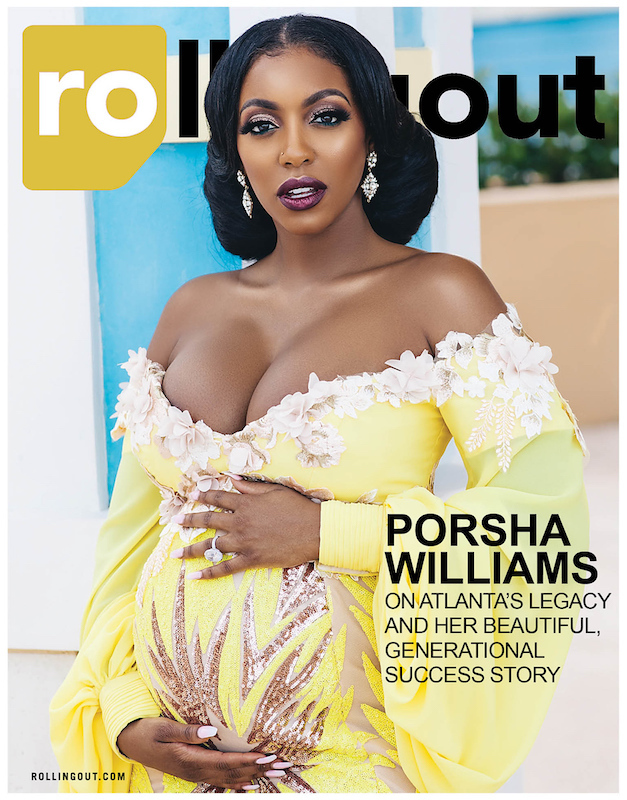 Porsha Williams covers Rolling Out magazine  outfitted by Bahamaian fashion designer Theodore Elyett