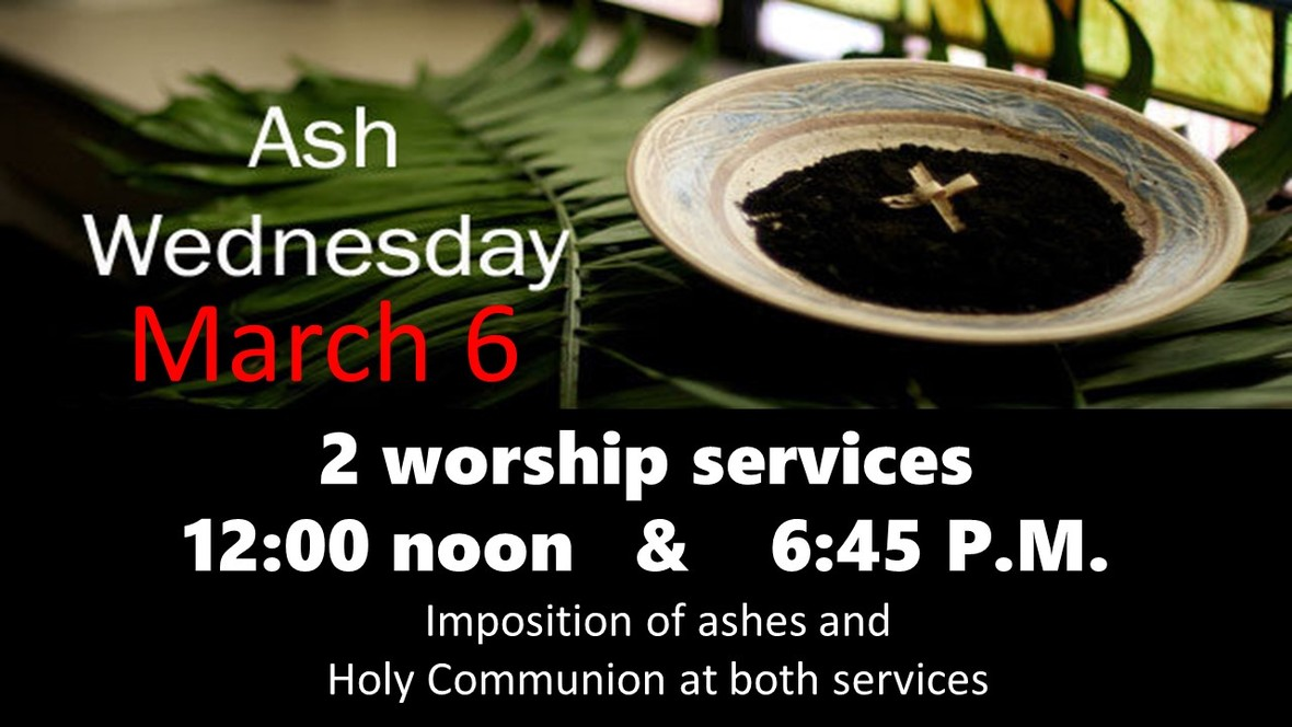 Ash Wednesday 2 services