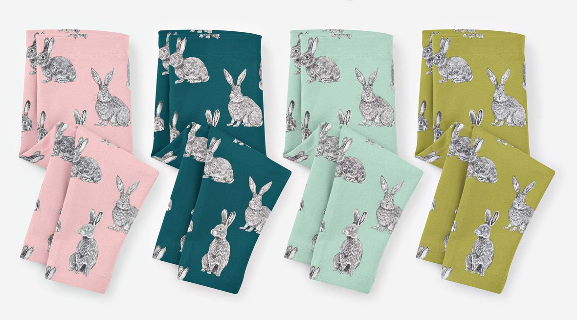 Spring Meadow baby leggings bunny hop b