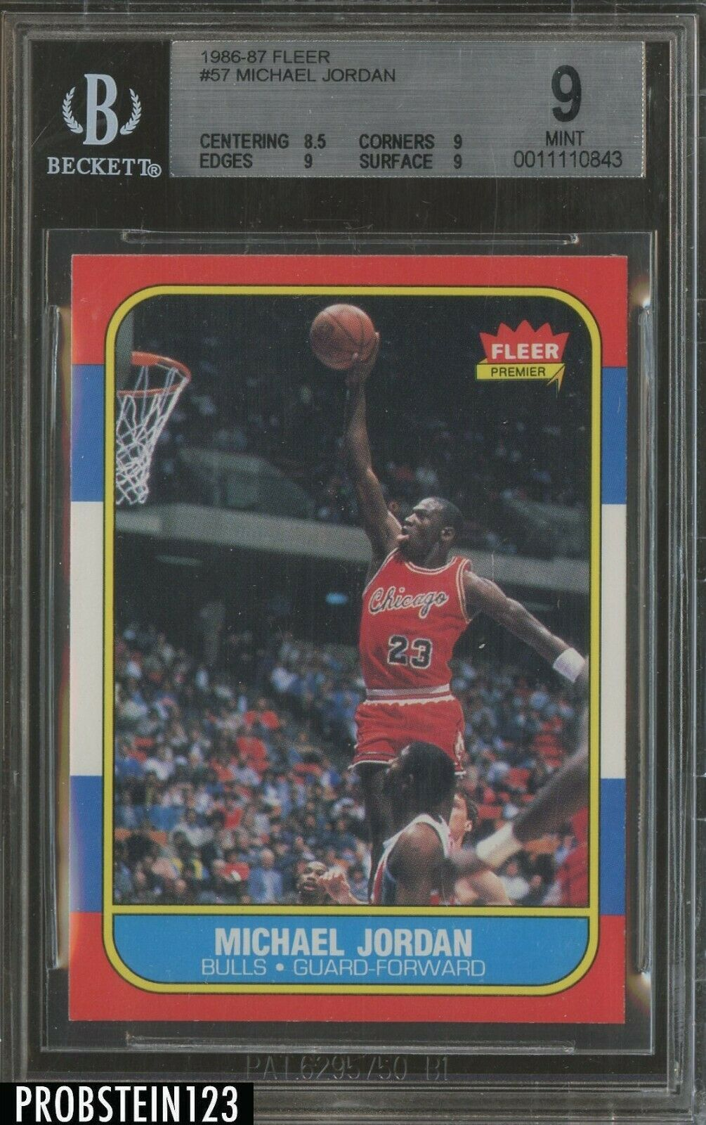 6130ce7eb7a 1986 Fleer #57 Michael Jordan Chicago Bulls RC Rookie HOF BGS 9