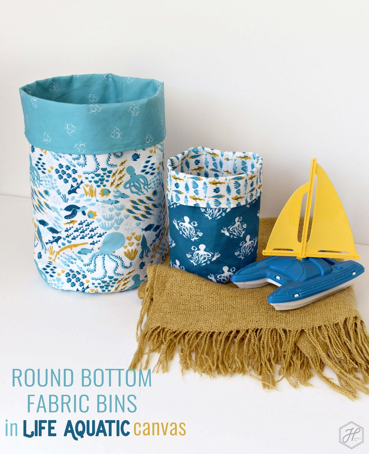 Life Aquatic Linen Cotton Canvas Round Bottom Bins Hawthorne Supply Co
