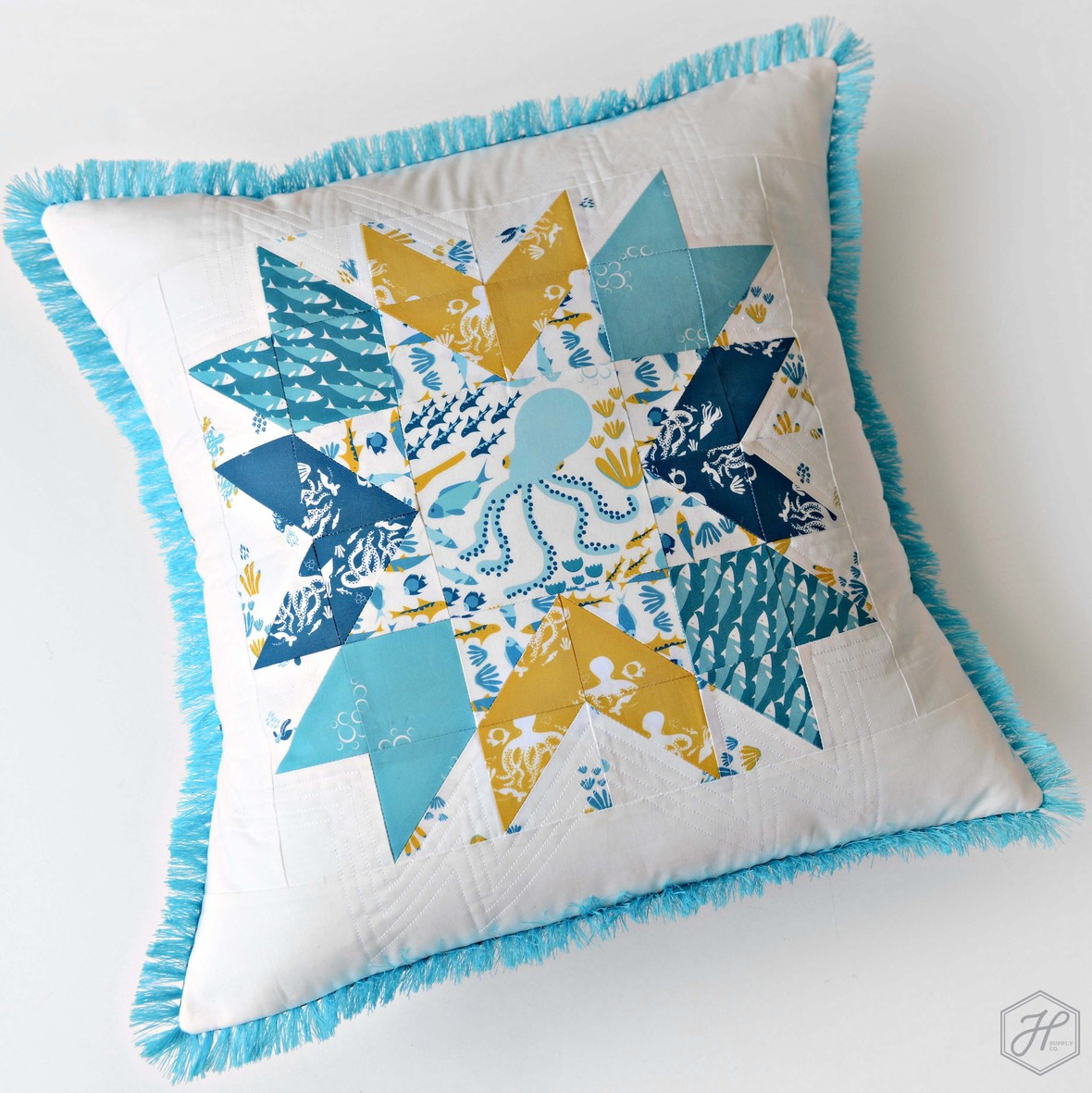 Life Aquatic Patchwork Pillow Marina Grzanka for Hawthorne Supply Co - Copy